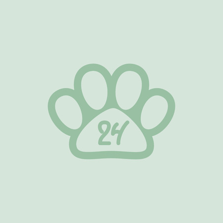 Pet paw, 24 hours a day, hand drawn numbers, vector illustration Vector