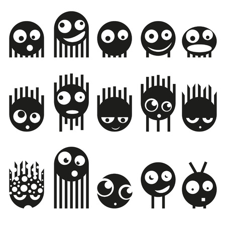 Set of cute monsters, vector illustration