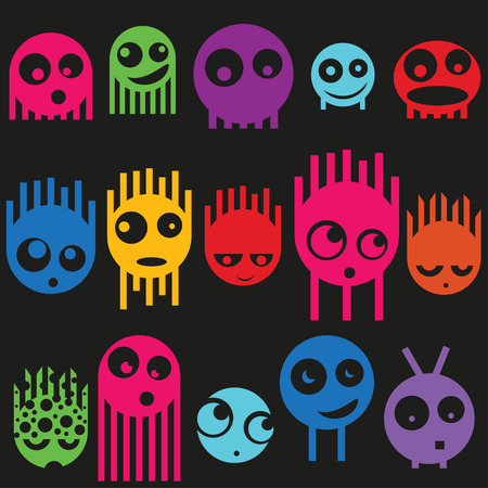 Cute monsters seamless pattern, vector illustration Vector
