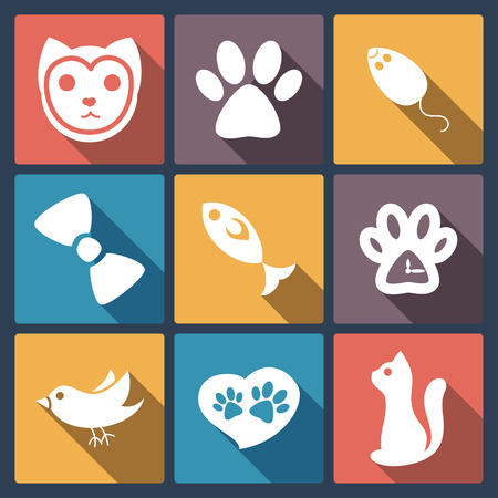 cat paw: Flat cat icons set, pet application icons in flat design for web and mobile