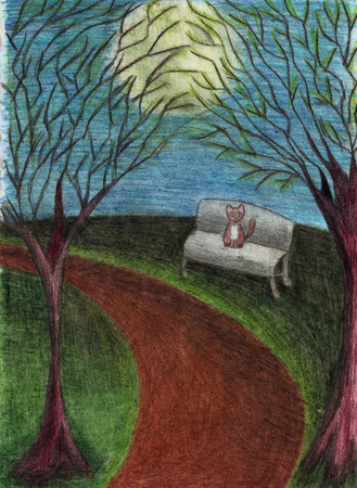 Cat in night park, landscape with trees, bench, path, full moon, drawn with colored pencils on paper 스톡 콘텐츠