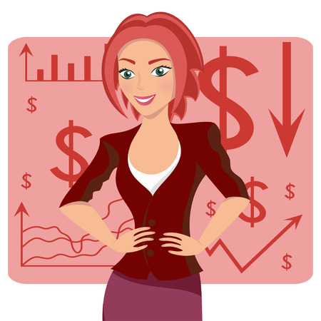 expressional: Red-haired business woman, smiling character on chart background, vector illustration Illustration