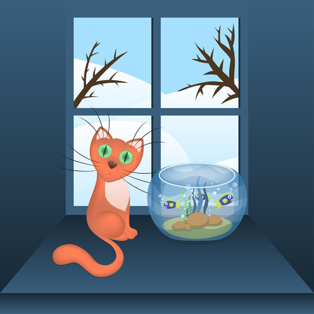 window sill: Cartoon cat and aquarium with fishes on a window sill and winter view in a window, vector illustration, eps10