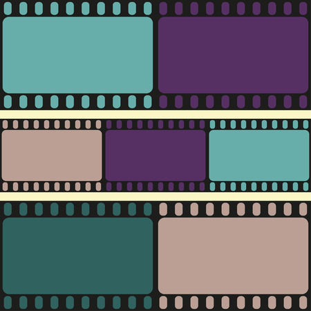 Film strips seamless pattern, retro background, vector illustration