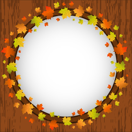Autumn design frame, wreath of colorful maple leaves, window and autumn leaves over aged wooden background texture, vector illustration Vector