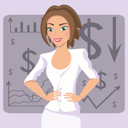 expressional: Business woman in white suit, smiling character on chart background, vector illustration Illustration