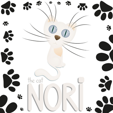 wiskers: Funny white cartoon cat Nori, cat paw footprints, hand drawn text, vector illustration