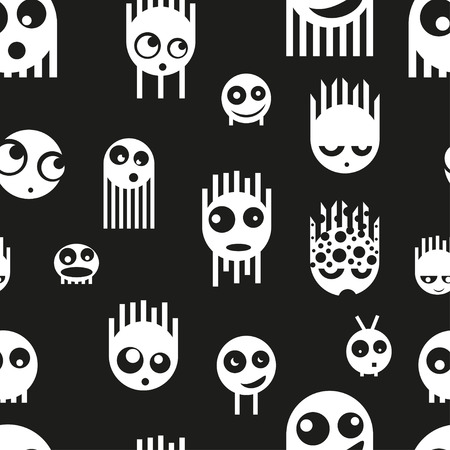 cute ghost: Cute ghost monsters seamless pattern, vector illustration