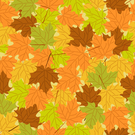 Maple leaf seamless pattern, vector seamless background: autumn maple leaves, vector seamless pattern with leaf, bright autumn background, vintage template, fall leaf theme, vector  illustration