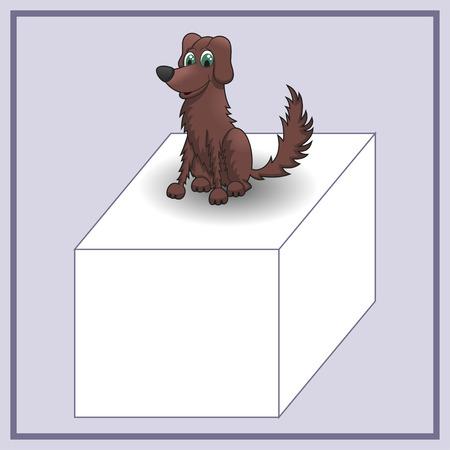 advertizing: Cartoon dog on advertizing banner of cube  Vector illustration Illustration