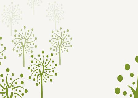 summer trees: Fondo decorativo de �rboles con el �rbol del doodle, temporada �rbol con hojas verdes, �rboles de verano Vectores