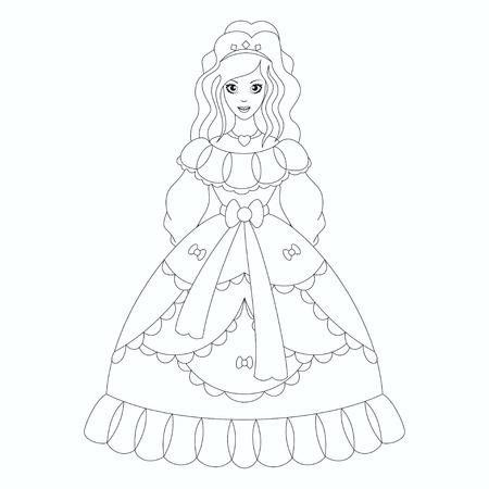 Beautiful princess, coloring book page