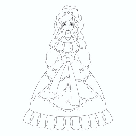 Beautiful princess, coloring book page