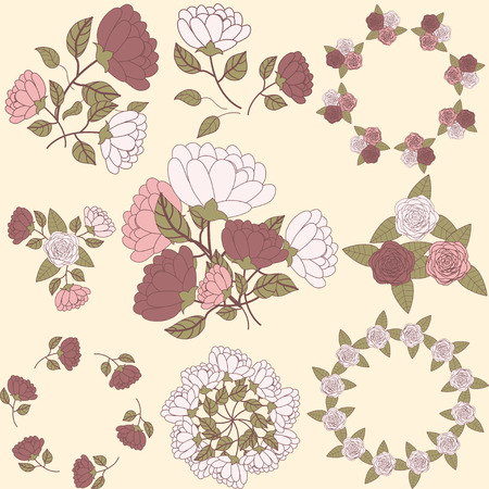 Retro floral wreath and flower bouquet collection, part 1 Vector