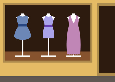 show case: Boutique, womens clothing shop Illustration