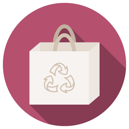 reusable: Trendy round eco recycle bag icon with long shadow, bag with recycle sign, reusable shopping bags  Illustration