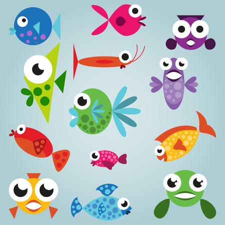 Cartoon sea fish set, funny comic fishes, simple fishes