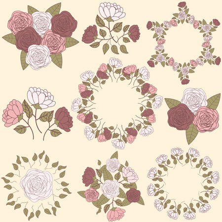 Retro floral wreath and flower bouquet collection, part 2 Vector