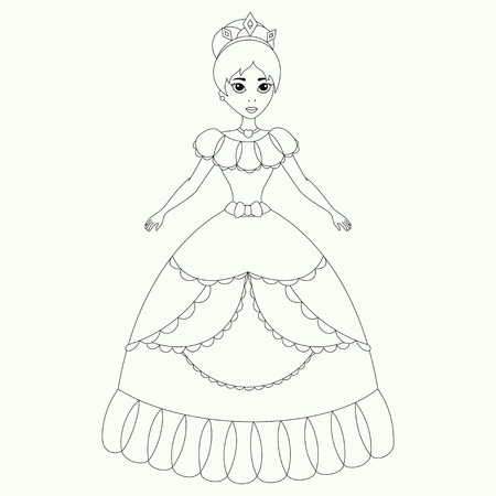 Pequeña Princesa Linda Ilustración En Blanco Y Negro Para Colorear