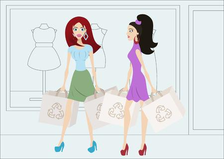 reusable: Cartoon shopping girls with reusable shopping bags