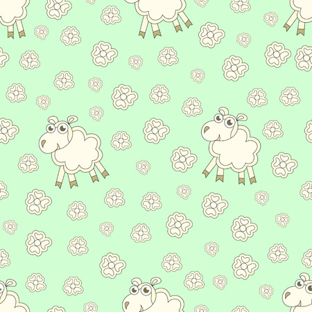 animal texture: Seamless pattern with cute sheep and flowers