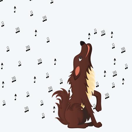 Cute fluffy cartoon dog howling Vector