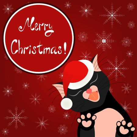 Cute Christmas card. Bright holiday background with tender cat who kisses you Vector