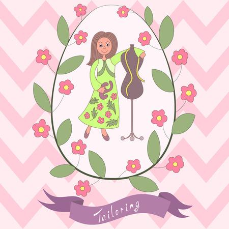 Cute romantic card with happy cartoon seamstress Vector