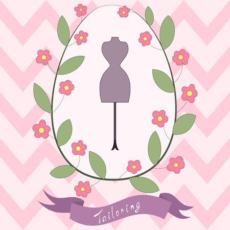 Bright floral card with cute cartoon tailoring emblem with mannequin Vector
