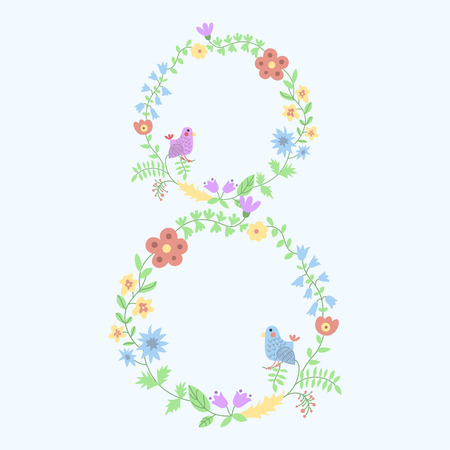 floral figure 8 with vintage amazing flowers Vector