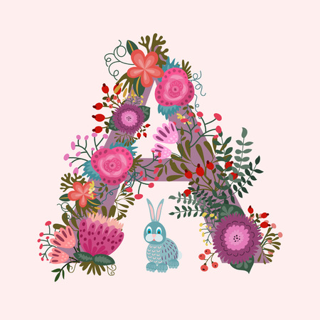 Cute letter A. Floral monogram A with vintage flowers and rabbit Vector