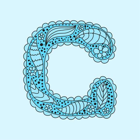 Cute letter G. Floral monogram G Vector