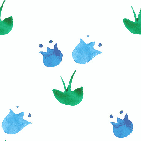 bluebell: Seamless pattern with watercolor bluebell