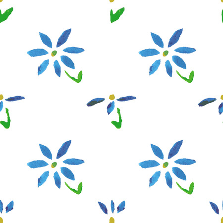 Seamless pattern with grunge watercolor flowers Vector