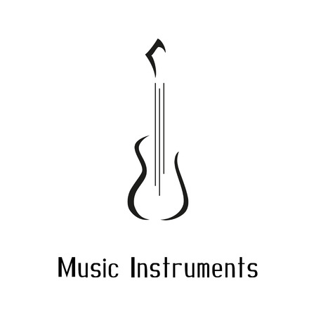 Musical instruments shop symbol with guitar