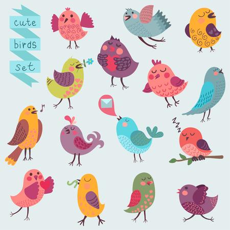 Cute cartoon birds set Illustration