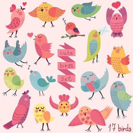 Cute cartoon birds set Vector
