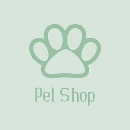 bear silhouette: Pet shop with pet paw