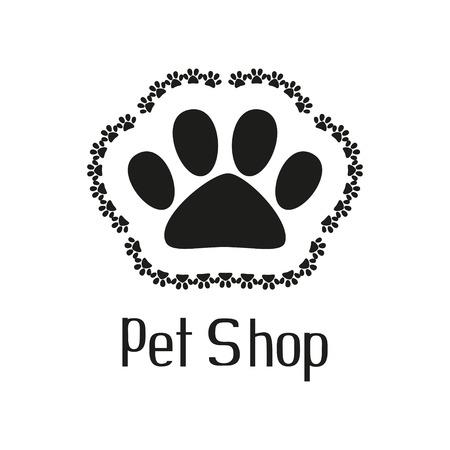 tienda de animales: Pet concepto de tienda con la pata del animal dom�stico