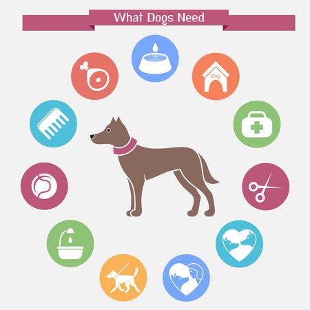 Dog infographics and icon set Illustration