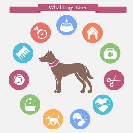 Dog infographics and icon set Illusztráció