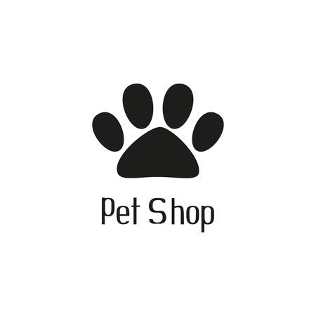 tienda de animales: Pet shop logo con la pata del animal dom�stico Vectores