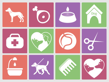 dog leash: Dog icons set for web. What dogs need Illustration