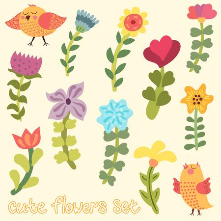 Cute hand drawn flowers set Vector