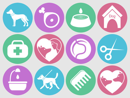 Dog icons set for web. What dogs need Vector