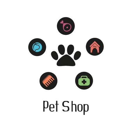 Pet shop logo with pet paw and what dog needs Illustration