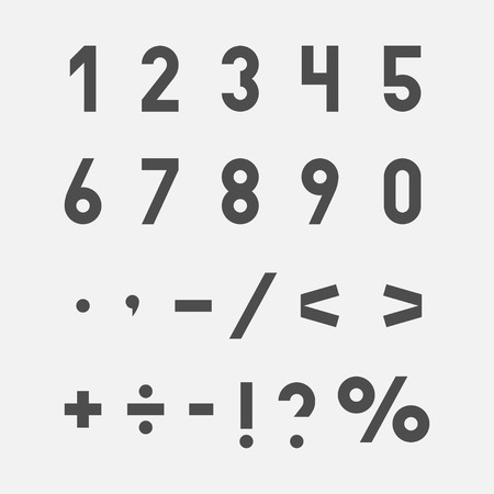 Hand drawn numbers and symbols set