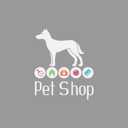 pet: Pet shop logo with doggy sign and what dog needs Illustration