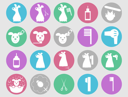 Dog grooming icons set Illustration