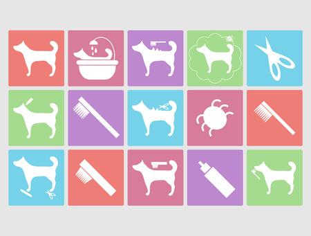 wash care symbol: Dog grooming icons set Illustration